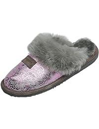 Herren in grau AM artmoda Lammfell Pantoffeln warme Hausschuhe Puschen Damen u