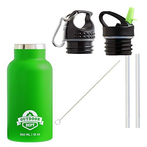 Isolierte Edelstahl Trinkflasche Kinder 350 ML BPA frei - Thermo Edelstahlflasche Kinderflasche Trinkflasche isoliert. Für Kohlensäure geeignet. 2 Deckel mit Karabiner und Strohhalm. In Grün.