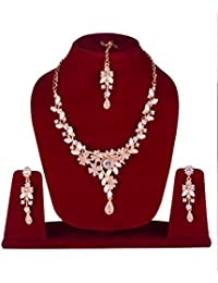 Rose Gold Pearl Necklace Set With Mangtikka Jewellery Set With Earrings For Women