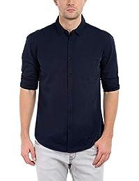 Dennis Lingo Men's Cotton Navyblue Solid Casual Shirt