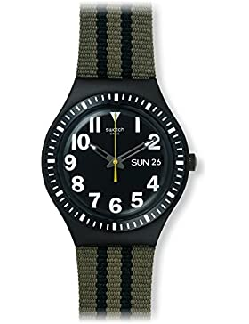 Swatch Herren 37mm Multi Color Leder Armband Aluminium Gehäuse Datum Uhr YGB7001