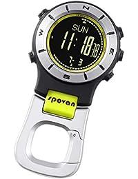 P Prettyia Spovan Altímetro Barómetro Compass LED Reloj de Bolsillo Digital con Botón de Pila -