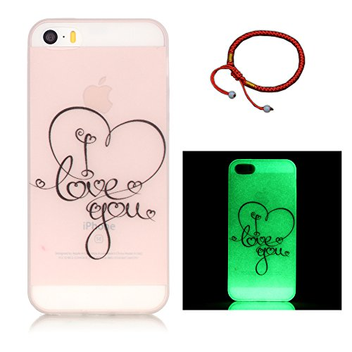 Coque pour iPhone 5 / 5S / SE Noctilucent Fluorescence Bouton Gold TPU Transparent Gel Silicone Extra Fine Slim Creative Soft Haute Qualité Case, GOCDLJ iPhone 5 / 5S / SE Couvrir Coverture Cas Sac Mo LOVE YOU