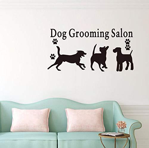 Dalxsh Spielen Welpen Kunst Wandaufkleber Zitat Hundepflege Salon Pet Shop Vinyl Wandtattoo Removable Wand Tattoo Design Wandbild 22X44 Cm