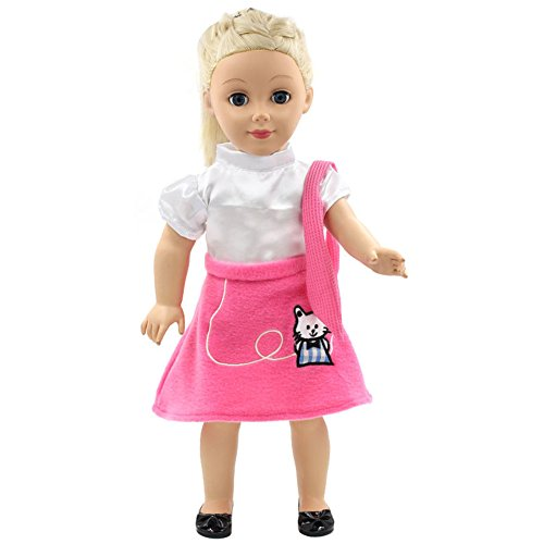 FUNDIY Daily Casual Clothes Outfits Cute Kitten Party Princess Dress fit for American Girl Doll 18 inch Doll Xmas Birthday Gift (Costume Ball Barbie)