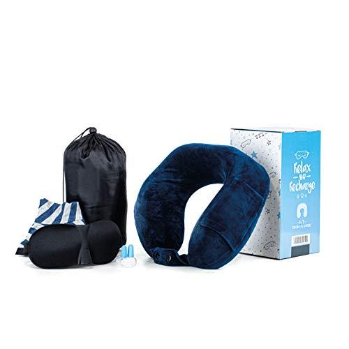 Kit cuscino da viaggio memory foam [incluso 1 pernottamento] cuscino cervicale da collo per aereo auto treno pulmann | 2 federe lavabili cotone e velluto | kit viaggio maschera e tappi per dormire