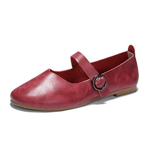 HWF Scarpe donna Primavera scarpe da donna retrò piatte bocca superficiale scarpe singole nonne scarpe femminili ( Colore : Grigio , dimensioni : 35 ) Rosso