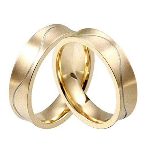 Aooaz Schmuck Damen Ring,Fließend Linie CZ Zirkonia Klassisch Edelstahl Ehering Verlobungsringe für Damen Gold Größe 49(15.6) Surf-quilt-set