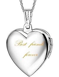 """Camafeo con """"Best Friends Forever Carta Titanio Collar Con Colgante De Corazón Regalos Presente para mujeres niñas amigo 45cm cadenas"""