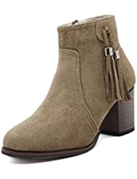 JSHOE Damen Wildleder Stiefeletten Mode Kurze Stiefel Winter Schuhe High Heel Schuhe Sexy WarmApricot-36EU