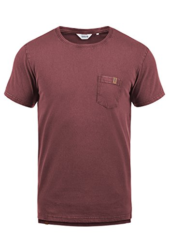 !Solid Jack Herren T-Shirt Kurzarm Shirt Mit Rundhalsausschnitt Aus 100% Baumwolle, Größe:M, Farbe:Wine Red (0985) (Und Rosa Verzierungen Orange)