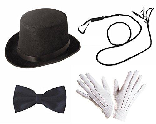 Accesorios de disfraz de jefe de pista Lollipop Clothing, 4 elementos, domador de leones, juego, con sombrero de copa, circo