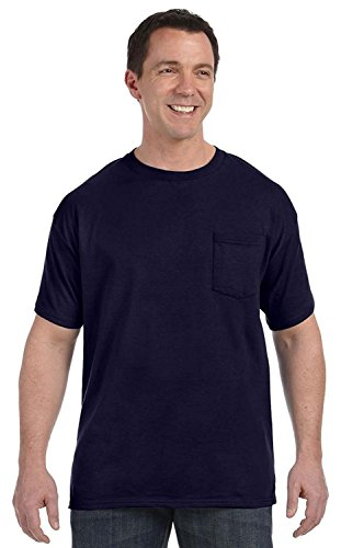 Hanes Heavyweight Tagless Pocket Tee, Navy, Small (Hanes-pocket-tees)
