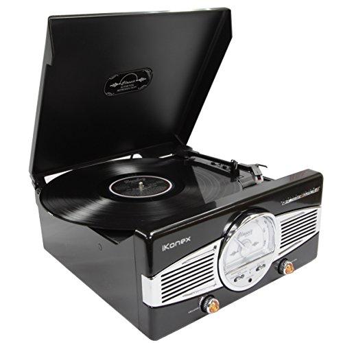 Reproductor Discos Vinilo con Radio FM y Altavoces Estéreos Integrados – Estilo Clásico Retro Años 50 – Compatible con la Grabación de Vinilo a MP3 y Salida Para Auriculares y Phono de iKonex