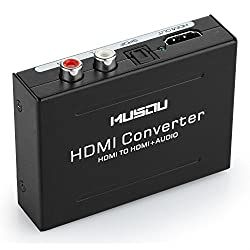 Musou® - [Hdmi Audio Extractor] | Hdmi To Optical Rca Audio Video Adapter | Hdmi To Hdmi + Spdif Toslink + Rca L R | Split Becoming Hdmi + Rca | Digital Hdmi Converter Optical Fiber Output | Splitter - Dac Hd Digital To Stereo Rl | For Blu-ray Dvd Player Xbox One Sky Hd Box Ps3 Ps4 | Etc. (Black)