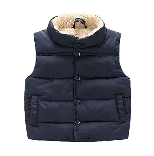 YOUJIA Baby Kinder Jungen Mädchen Weste Kunstfell Winter Ohne Arm Gilet Bodywarmer Kurz Jacke (Marine, 90cm)