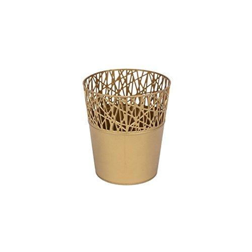 Rond cache-pot 11.5 cm CITY en plastique romantique style en dorée couleur