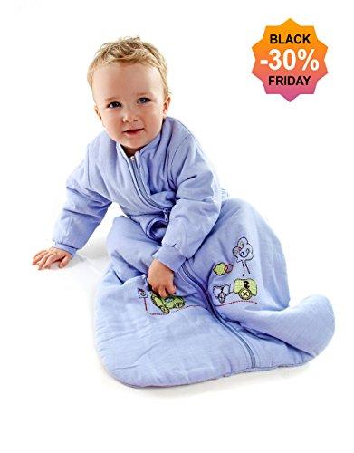Slumbersac Saco de dormir niño pequeño Invierno manga larga aprox. 2.5 Tog, trenecito, 3-6 años/130 cm