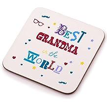 Best Grandma cadeau Unique sous-dessous de verre en bois Motif Cadeau Idéal Secret Santa, idée de cadeau de Noël ou d'anniversaire de homme ou femme