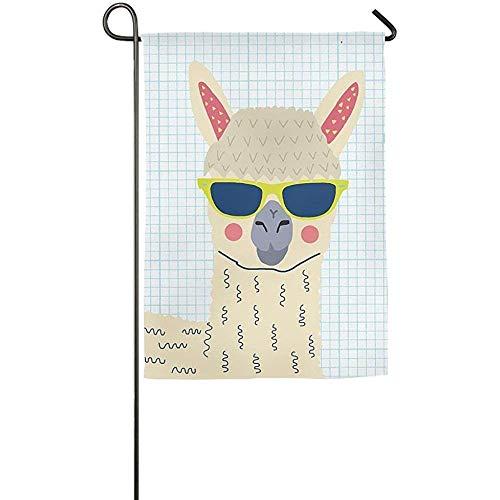 Dozili bandiera da giardino resistente all' usura alpaca Llama Animal Home Decoration resistente alle intemperie e doppio bandiera, poliestere, Colorato, 12.5' x 18'