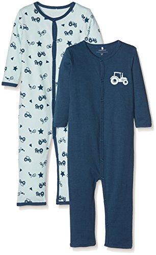 NAME IT Baby Jungen Schlafstrampler NMMNIGHTSUIT 2P Ensign Blue NOOS, 2er Pack, Mehrfarbig, 92