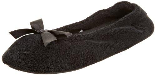 Isotoner Ballerina-Hausschuhe, für Damen, aus Terrystoff, schwarz - schwarz - Größe: Medium (Frottee Medium)