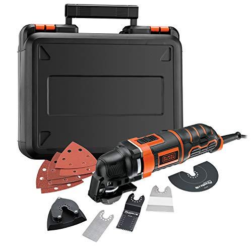 BLACK+DECKER MT300KA-QS Outil multi-fonctions oscillatoire filaire - Fixation rapide - 11 accessoires : sciage - Ponçage et raclage - Livrée en coffret 300W, Noir, Orange