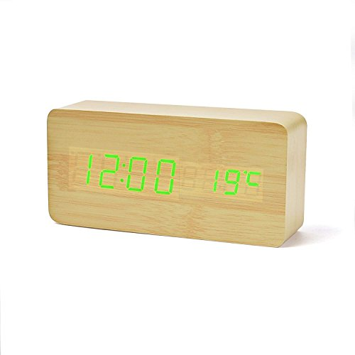 FIBISONIC Holz LED-Design Digital Wecker Datum Temperatur Sound-Sensor Wecker 3 Stufen LED Helligkeit Bambus Grün (Temperatur Stufen)
