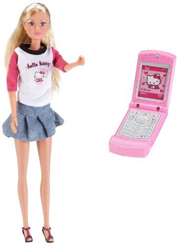 Simba 5733368 Steffi Love - Muñeca Steffi Love y móvil con diseño de Hello Kitty