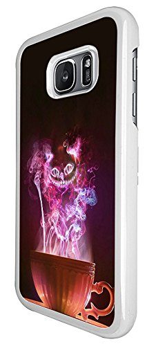 003048 - Alice Cheshire cat tea cup illustration Design Samsung Galaxy S6 Hülle Fashion Trend Case Back Cover Metall und Kunststoff - (Cat Zubehör Cheshire)