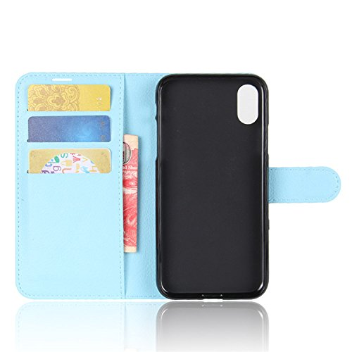 Easbuy Pu Leder Kunstleder Flip Cover Tasche Handyhülle Case Mit Karte Slot Design Hülle Etui für iPhone X Smartphone Handytasche Blau