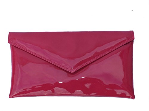 LONI Neat Umschlag Kunstleder Patent Clutch Bag/Schultertasche in Fuscia