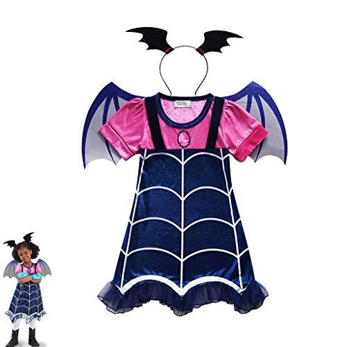 DONGBALA Mädchen Halloween-Kostüm, Batman Mit Flügeln+Stirnband für Weihnachten Halloween Party 3 in 1 Set (pink blau),110cm (Niedliche Kostüm Für Teens)