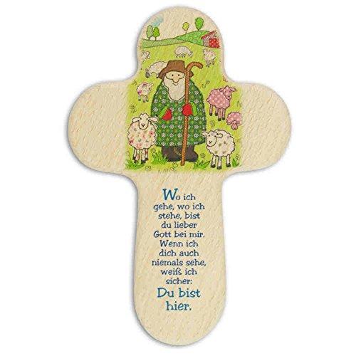 kruzifix24 Devotionalien Kinderkreuz Hirte umgeben mit Schafe/Schäfchen & Text Holz - Taufkreuz Geburt 16 x 10,5 cm