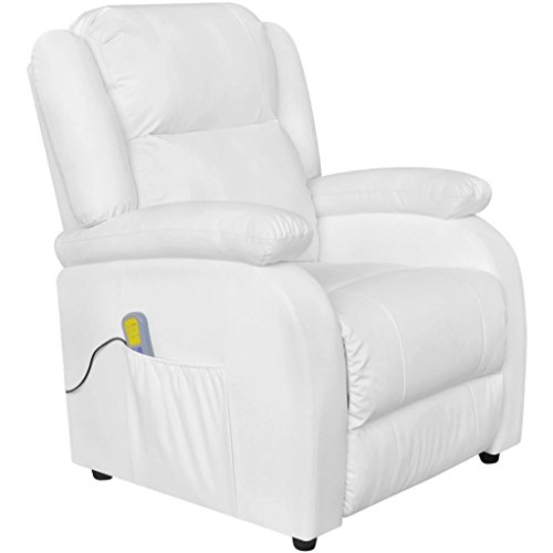 lingjiushopping Elektrische Massage Sessel Lehnstuhl Kunstleder weiß Farbe: weiß Material: Struktur aus Holz und Eisen + Bezug Leder Künstliche