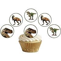 12 obleas comestibles para cupcakes de dinosaurio precortadas