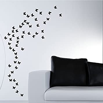 DecoMatters 63 Butterfly Wall Stickers, Black