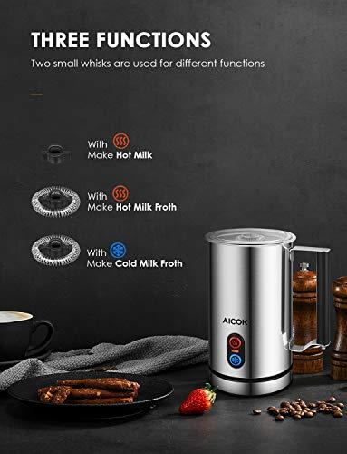 Montalatte Elettrico Aicok, Cappuccinatore / Montalatte in Acciaio Inossidabile per Schiuma di Latte Calda e Fredda, Regolatore di Temperatura Strix, Rivestimento Antiaderente, per Cappuccino, Latte