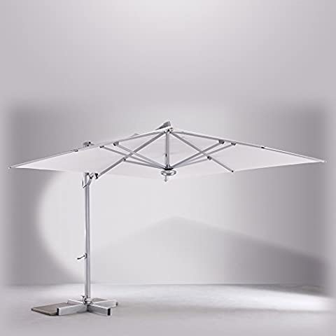 Parasol déporté inclinable carré 3 x 3m en Sunbrella naturel