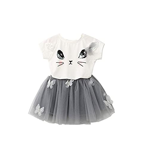FEITONG Motif Shirt Enfant Filles Cat Lovely and Mignon Haut