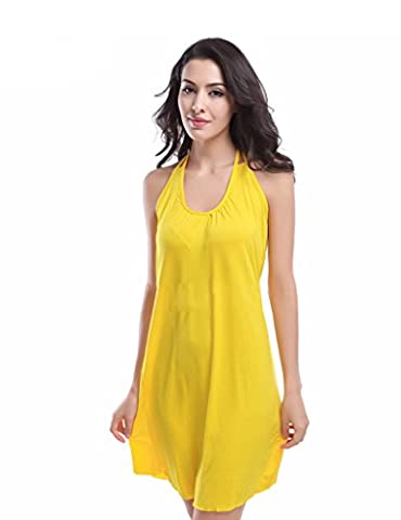 Bestgift Women's Colorful Tie-neck Racerback Solid Beachwear Cover Up Yellow L