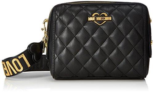 Love Moschino Damen Borsa Nappa Pu Trapuntata Nero Baguette, Schwarz (Black), 15 x 19 x 9 cm