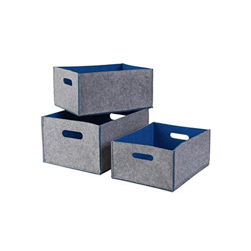 Kamino Flam Aufbewahrungsboxen-Set in Grau, Filzkisten mit blauer Innenseite, Untergrund schonende Ordnungsboxen, belastbares Korb Set zur Aufbewahrung von CDs und DVDs