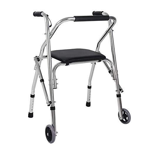 LXDDJZXQ Walker, Andador Plegable con Asiento y Ruedas Ligero, Ayuda a la Movilidad, Ligero, Ajustable, Funcional, Seguro con Puntas de...