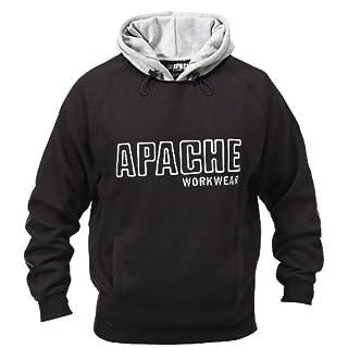 Apache Men's Fleeced Sweatshirt Hoody - Black/Grey, Medium