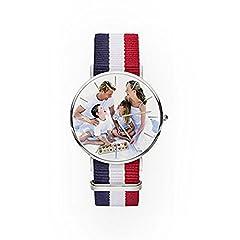 Idea Regalo - Hacool classico personalizzato immagine orologio per uomini donne bambini–personalizzata con qualsiasi foto orologio da polso.