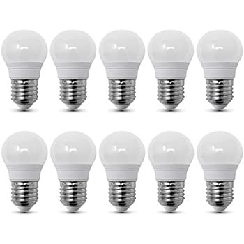 Conjunto de 10 - ZONE LED SET - E27-3W - Bombilla LED, G45 - Luz Blanca Cálida (2700K) - 250lm - Equivalente incandescente 25W - Ángulo de haz 180°
