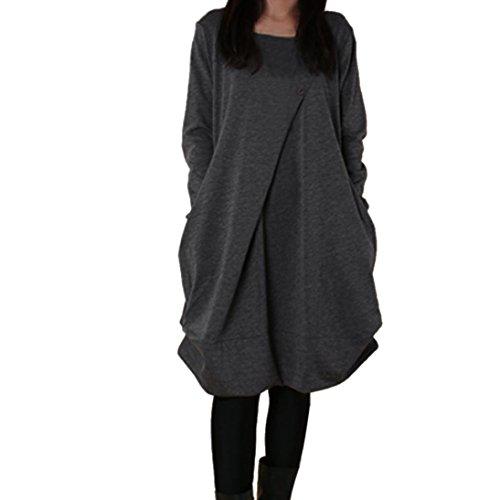 l übergroße Langarm Lose Kleid Jumper Dress Party Kleider Bluse Tops Blusenkleid(A-Gray ,EU-36/CN-M ) (Mädchen Mit Aus Drees)