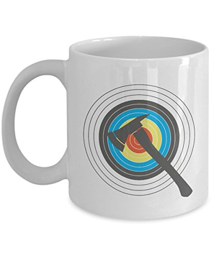 Bullseye AX Throwing Target Board Coffee & Tea Gift Mug for Skilled Men & Women Axe Throwers or Competitors Who Join Wood Chopping Competition