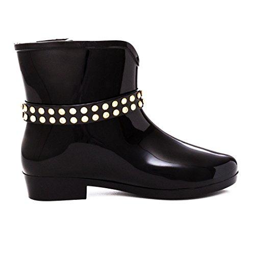 8d3643a8e680d Damen Regen Gummistiefel Schlupf Stiefeletten Boots Schuhe Nieten Strass  Totenkopf Modell 1 Schwarz